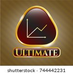 gold emblem with chart icon... | Shutterstock .eps vector #744442231