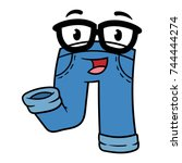 cartoon smarty pants character | Shutterstock .eps vector #744444274