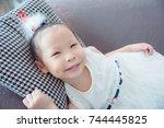 little asian pretty girl... | Shutterstock . vector #744445825