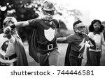 kids wear superhero costume... | Shutterstock . vector #744446581