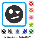 negation smiley icon. flat gray ...   Shutterstock .eps vector #744447859