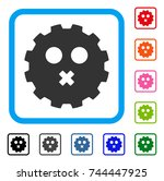 mute smiley gear icon. flat...