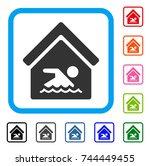 indoor water pool icon. flat... | Shutterstock .eps vector #744449455