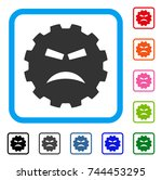 furious smiley gear icon. flat... | Shutterstock .eps vector #744453295