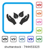 flora care hands icon. flat... | Shutterstock .eps vector #744453325