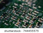 close up of a printed computer... | Shutterstock . vector #744455575
