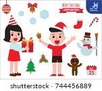 christmas and happy children... | Shutterstock .eps vector #744456889