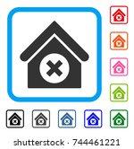 delete building icon. flat gray ... | Shutterstock .eps vector #744461221