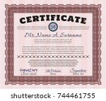 red sample certificate. with