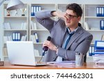 businessman sweating... | Shutterstock . vector #744462301