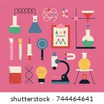 science experiment colorful... | Shutterstock .eps vector #744464641