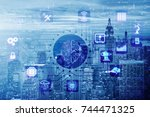 smart city concept powered by... | Shutterstock . vector #744471325