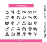 wedding icon pack in line style | Shutterstock .eps vector #744473581