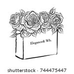 illustration of flower box... | Shutterstock .eps vector #744475447
