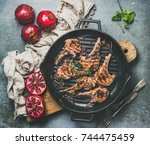 barbecue dinner. grilled lamb... | Shutterstock . vector #744475459
