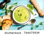 light summer green pea cream... | Shutterstock . vector #744475939