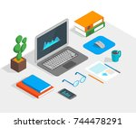 workspace concept 3d isometric... | Shutterstock .eps vector #744478291