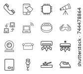 thin line icon set   phone ... | Shutterstock .eps vector #744478864