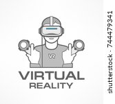 man in virtual reality headset... | Shutterstock .eps vector #744479341