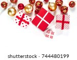 new year's toys  red and gold... | Shutterstock . vector #744480199