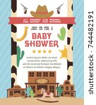 baby shower card with cowboy... | Shutterstock .eps vector #744482191