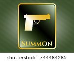 gold emblem or badge with... | Shutterstock .eps vector #744484285