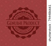 genuine product retro red emblem | Shutterstock .eps vector #744486661