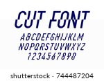 modern style cut font design ... | Shutterstock .eps vector #744487204