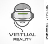 man in virtual reality headset... | Shutterstock .eps vector #744487387