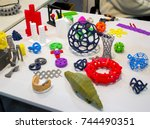 abstract models printed by 3d... | Shutterstock . vector #744490351
