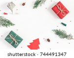 christmas composition. frame...   Shutterstock . vector #744491347
