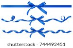 set of decorative blue bow with ... | Shutterstock .eps vector #744492451