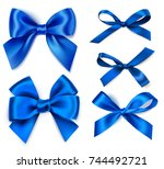 set of beautiful blue bow... | Shutterstock .eps vector #744492721