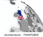 united kingdom on globe with... | Shutterstock . vector #744492805