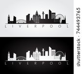 liverpool skyline and landmarks ... | Shutterstock .eps vector #744493765