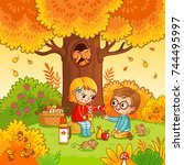 picnic in the forest with... | Shutterstock .eps vector #744495997