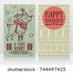 greeting cards for christmas... | Shutterstock .eps vector #744497425