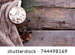 cocoa  coffee  gift  fir branch ... | Shutterstock . vector #744498169
