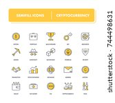 line icons set. cryptocurrency... | Shutterstock .eps vector #744498631