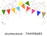 many colorful falling colorful  ... | Shutterstock .eps vector #744498685