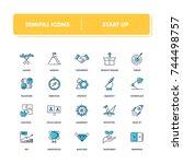 line icons set. start up pack. ... | Shutterstock .eps vector #744498757