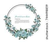 flower frame of rose. drawing... | Shutterstock .eps vector #744498859