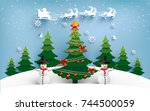 christmas tree with lights that ... | Shutterstock .eps vector #744500059