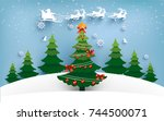 christmas tree with lights that ... | Shutterstock .eps vector #744500071