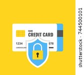 credit card with lock. secure... | Shutterstock .eps vector #744500101
