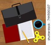 work business top view. vector... | Shutterstock .eps vector #744500107
