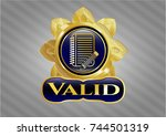 gold emblem with notebook with ... | Shutterstock .eps vector #744501319