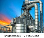 close up oil and gas refinery... | Shutterstock . vector #744502255