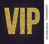 golden symbol of exclusivity ... | Shutterstock . vector #744502447