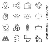 thin line icon set   pointer ... | Shutterstock .eps vector #744502954